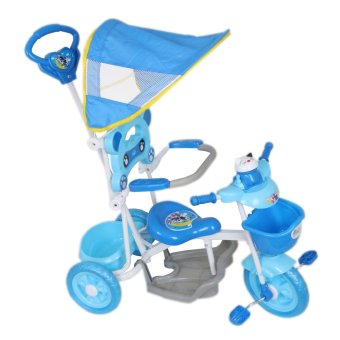 Cutie Active Toddler Tricycle with Guide Assist Stroller, SafetyBar and Rain Safe Canopy (Blue Cat)