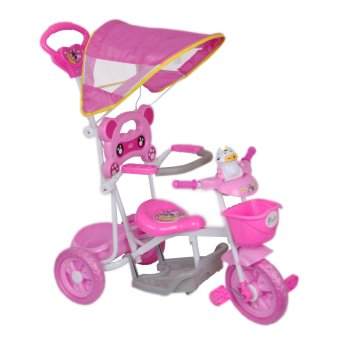 Cutie Active Toddler Tricycle with Guide Assist Stroller, SafetyBar and Rain Safe Canopy (Pink Cow)