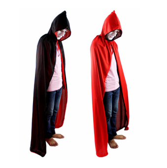 Death 150cm red and black Halloween double layer hooded cloak Cape
