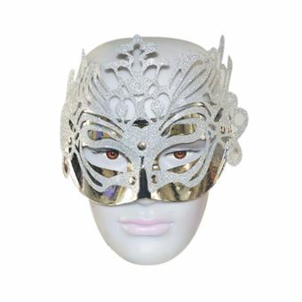 Decorated Glitter Masquerade Mask Costume Accessory (Silver)