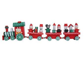 dewsty Christmas Decorations Train Set Train Set Figurine Toys Xmas Ornament Xmas Decor Gift,Red,24.5x6x3cm/9.6x2.4x1.2inch