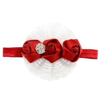 DHS Lace Ribbon Elastic Headbands (Red) - Intl