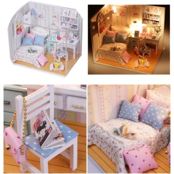 DIY Wood Dollhouse Miniature with LED + Furniture + Cover Doll House Room Model - intl - 4