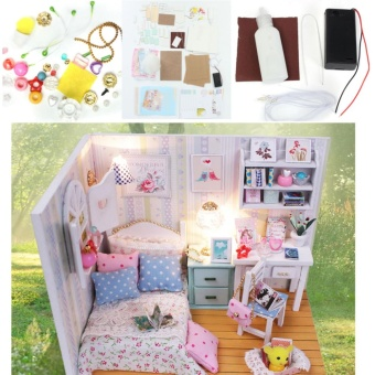 DIY Wood Dollhouse Miniature with LED + Furniture + Cover Doll House Room Model - intl