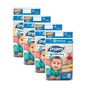 Drypers Wee Wee Dry Jumbo Pack Medium 52's Pack of 4