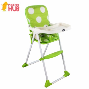 DuoMeite Foldable Polka Dots Baby Feeding High Chair (Green)