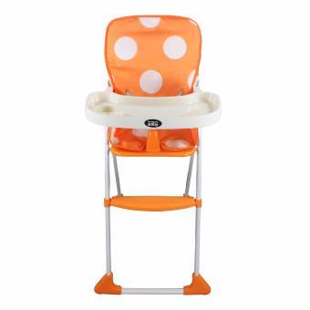 DuoMeite Foldable Polka Dots Baby Feeding High Chair (Orange) - 3