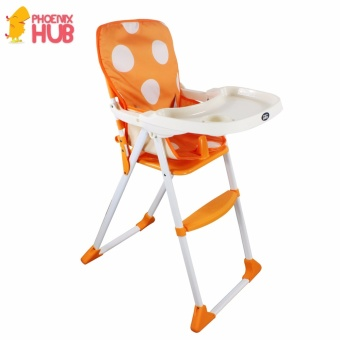 DuoMeite Foldable Polka Dots Baby Feeding High Chair (Orange)