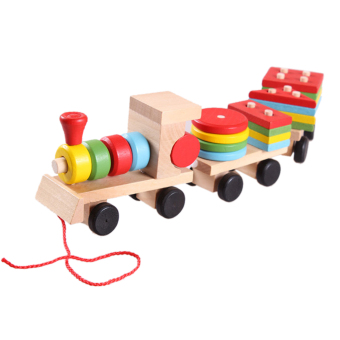 Educational Kid Baby Wooden Solid Wood Stacking Train Toddler BlockToy