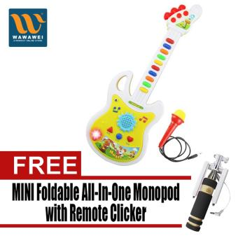 Electronic Guitar Music Instrument Educational Toy Kid Gift Early Education with Free Mini Foldable All-In-One Monopod with Remote Clicker (Black)