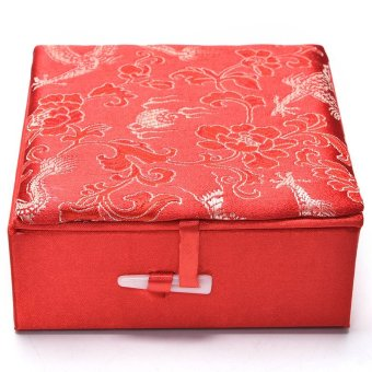 Embroidery Jewelry Box Traditional Chinese Dragon Pattern PaletteBox Red - intl