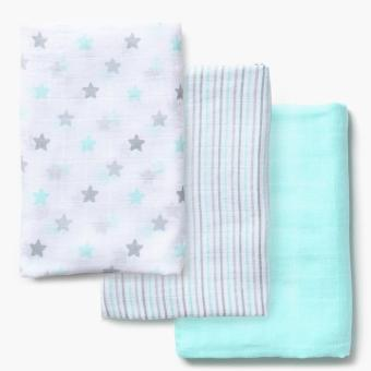 Enfant 3-piece Cotton Swaddle Blanket (Green)