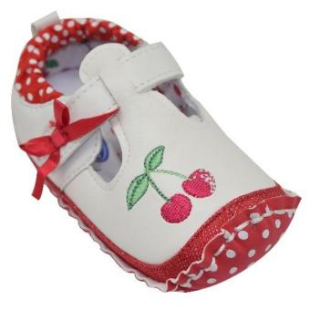 Enfant Baby Girl Shoes with Cherry Design (white,red)