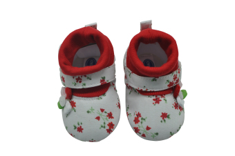 Enfant Baby High Cut Flower Design Shoes (Red)