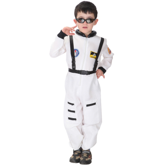 EOZY Kids Astronaut Costume Child Profession Cosplay Outfit Boys Fantasia Halloween Fancy Dress -M (White) - 3