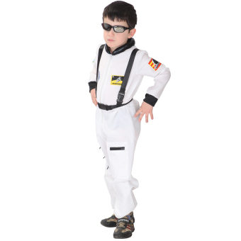 EOZY Kids Astronaut Costume Child Profession Cosplay Outfit Boys Fantasia Halloween Fancy Dress -M (White) - 2