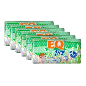 EQ Dry Diaper Econo Pack Medium 36's Pack of 6