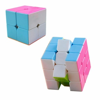 EverSpeed 2x2, 3x3 Pink Stickerless Speed Rubik's Cube Bundle Set