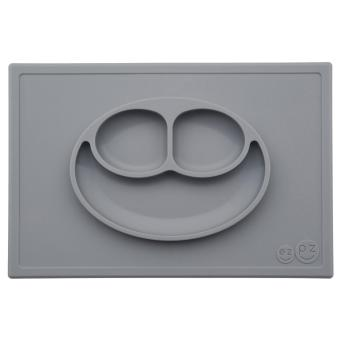EZPZ Happy Mat (Grey) Silicone Placemat + Plate
