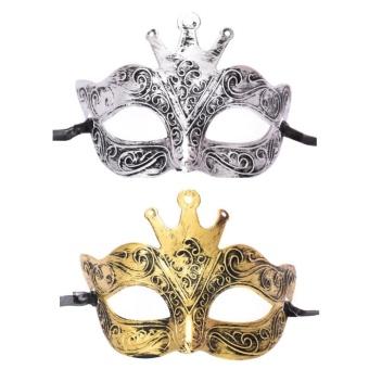 Fang Fang Men Costume Eye Face Masquerade Party Fancy HalloweenRoman Gladiator Crown Mask - Silver - intl - 2