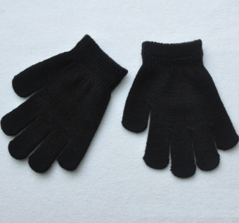 Fang Fang New Autumn Winter Children Girl Boy Warm Snow StretchyKnitted Gloves Mittens(Black)