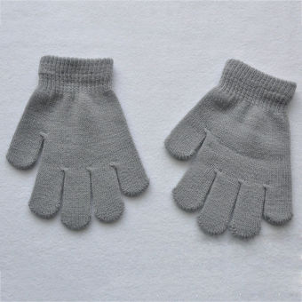Fang Fang New Autumn Winter Children Girl Boy Warm Snow StretchyKnitted Gloves Mittens(Gray)