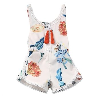 Fashion Baby Girls Sleeveless Backless Siamese Clothes Newborn Toddler Printed Floral Style Jumpsuit Bodysuit Infant One Piece Outfit Size L - intl