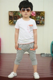 Fashion Boys' Clothing Sets For 3-8 Years Old Kids Cotton T-shirt+Pant Children's Sets - White - intl