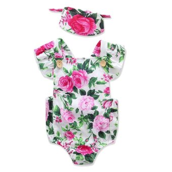 Fashion Newborn Baby Girls Floral Pattern Romper Bodysuit JumpsuitOutfits Playsuit Climbing Clothing Clothes with Cute Wrap Headbandfor 12-18 Months Infant Size L Style A - intl