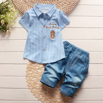 Fashion Summer Boys Clothing Sets Gentleman Clothes Suits KidsSweatshirt Child Formal Shirt+Short Jeans (Blue) - intl