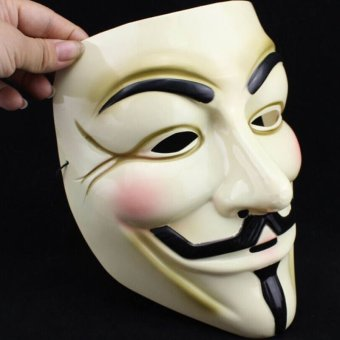 Fashion Yellow V For Vendetta Mask Guy Fawkes Anonymous Halloween Masks Fancy - intl