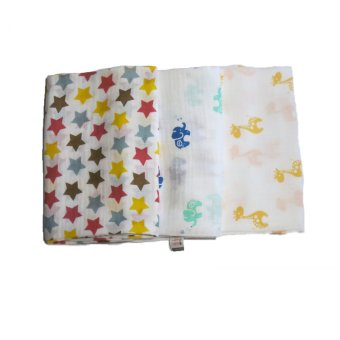Feo en Rafa Muslin Swaddle Set of 3 (Stars/Elephant/Giraffe)