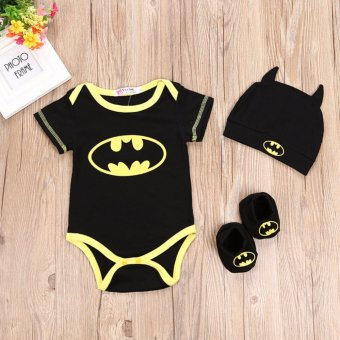 FIREWORK 3PCS/Set Batman Baby Boys Bodysuit Cloth+Hat+Foot Cover -intl Price Philippines