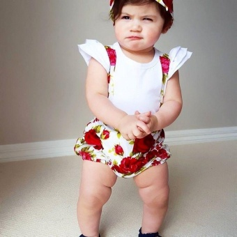 Floral Toddler Baby Girls Rose Shorts Pants Headband Summer OutfitsClothes 0-3Y (12-18 months) - intl - 2