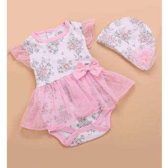 Floral Tulle Baby Bodysuit Dress with Beanie Pink Princess TutuGirls Romper Jumpsuit Fashion Photography Kids Toddler Costume