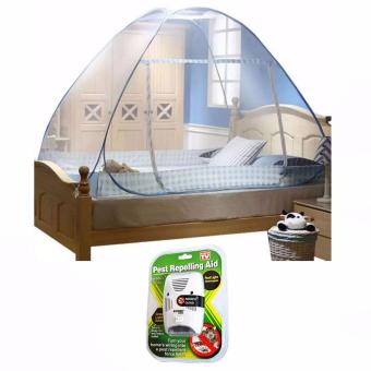 Folding Mosquito Netting for bed 1.8m x 2m blue with Riddex QuadDigital Pest Repelling Aid (As Seen On TV)