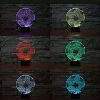 Football 3D Led night light 7colors changeable christmas lamp withtouch button children bedroom table - intl - picture 2