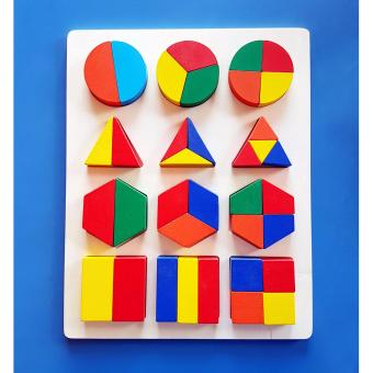 Four Shapes Wooden Fraction Board - Educational and Therapeutic