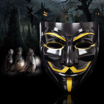 GAKTAI V for Vendetta Mask Anonymous Guy Fawkes Fancy Dress FancyCostume Ccosplay (Black) - Intl