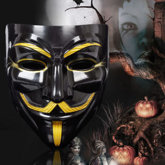 GAKTAI V for Vendetta Mask Anonymous Guy Fawkes Fancy Dress FancyCostume Ccosplay (Black) - Intl - 2