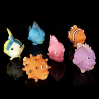 Generic Soft Rubber Fake Fish Vinyl Plastic Figure Cute Toy Purple Orange 6pcs - picture 2