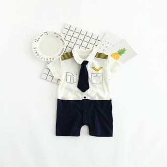 Gentleman baby one-piece newborns crawling clothes short sleeved romper