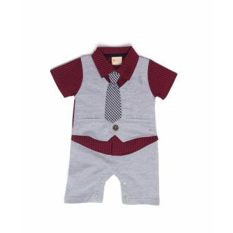 Gentlemen Suit Romper Light Grey for 3 to 6 Months Old