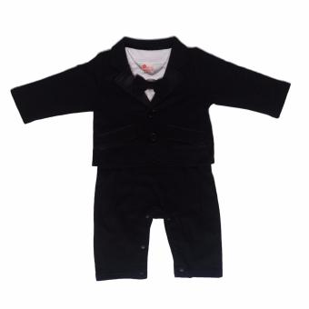 Gentlemen Suit Romper with Coat (Black) For Baby 6 to 9 Months Old