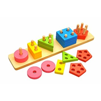 Geometric Sorter Stacking Board for Kids - Wooden Educational Toy