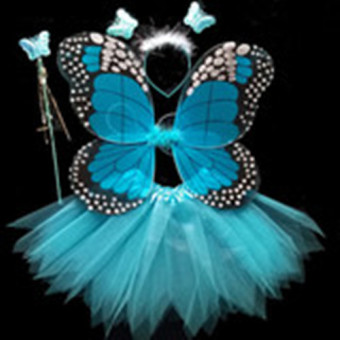 Girls Butterfly Fairy Costume with Wings, Wand and Halo--Blue Price Philippines