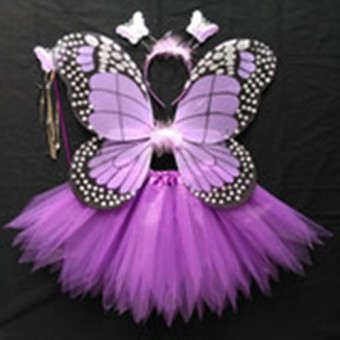 Girls Butterfly Fairy Costume with Wings, Wand and Halo--Purple Price Philippines