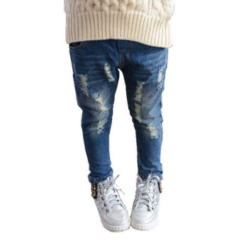 Girls Destroyed Ripped Denim Pants Pencil Jeans (Blue) (Intl)