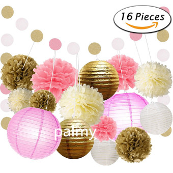 Gold birthday party wedding lantern paper