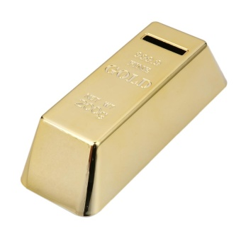 Gold Bullion Bar Piggy Bank Brick Coin Bank Saving Money Box - intl